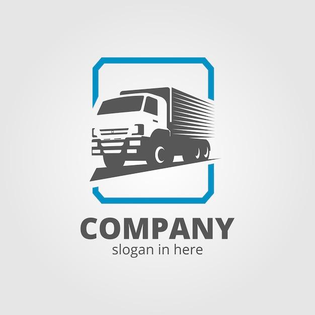 Una plantilla de logotipo de camión, carga, entrega, logística Vector Premium
