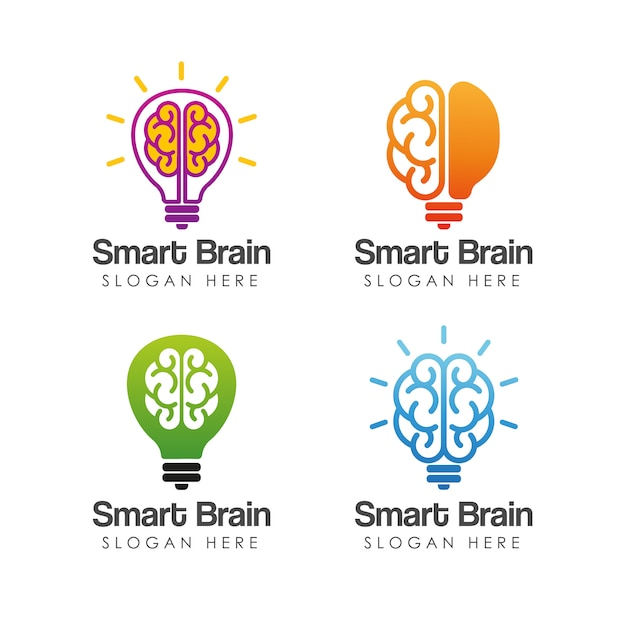 Plantilla de logotipo de cerebro inteligente Vector Premium