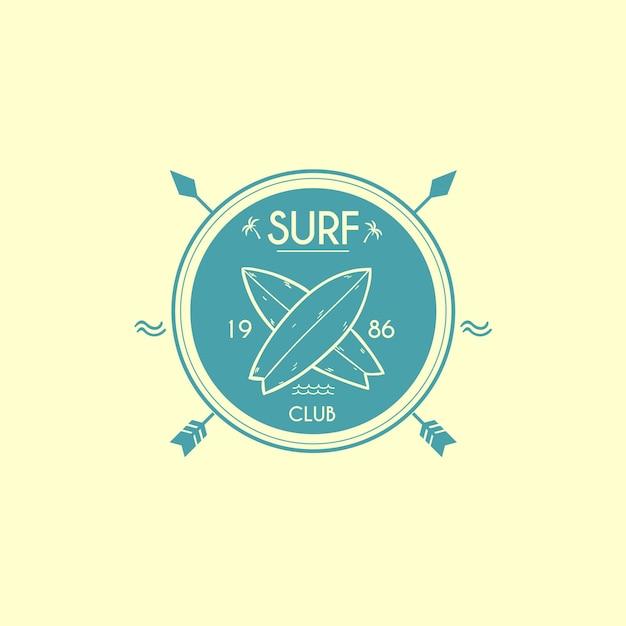 Plantilla de logotipo de club de surf vector gratuito