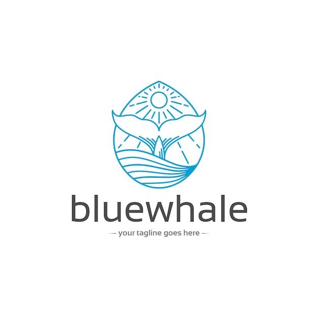Plantilla de logotipo de cola de ballena azul Vector Premium