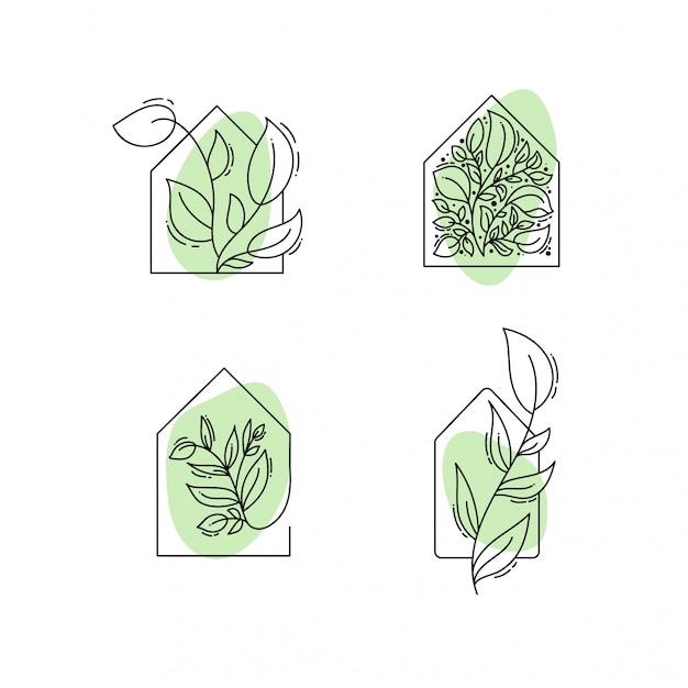 Plantilla de logotipo en color negro y verde Vector Premium
