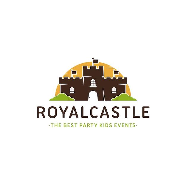 Plantilla de logotipo colorido castillo Vector Premium