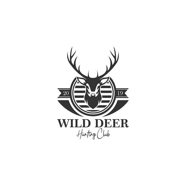 Plantilla de logotipo de deer hunt Vector Premium