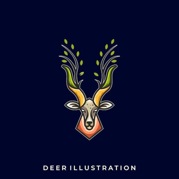 Plantilla de logotipo deer line art illustration Vector Premium