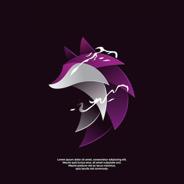 Plantilla de logotipo degradado lobo morado Vector Premium