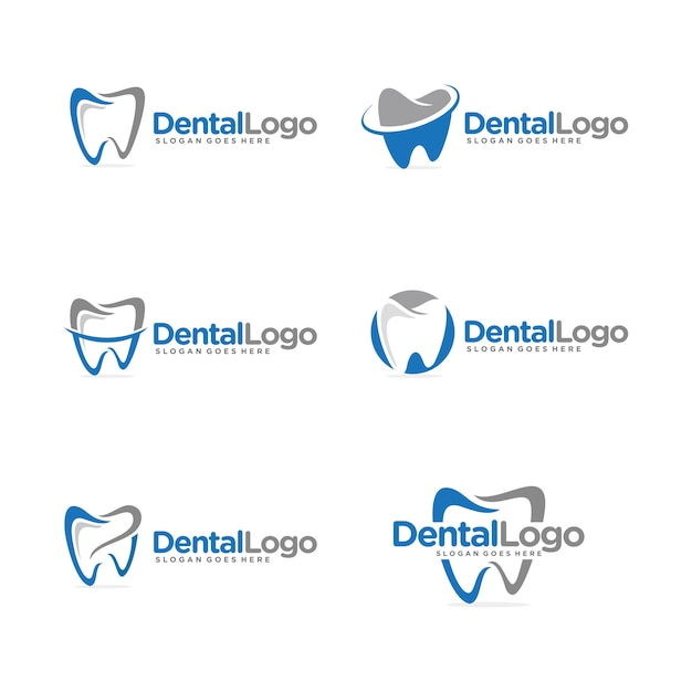 Plantilla de logotipo dental conjunto Vector Premium