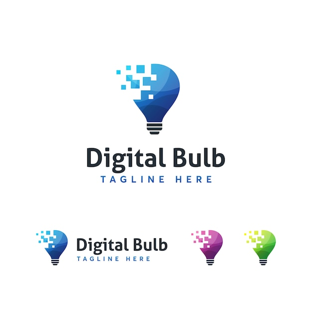 Plantilla de logotipo digital bulub Vector Premium