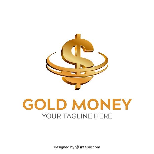 Plantilla de logotipo de dinero dorado vector gratuito