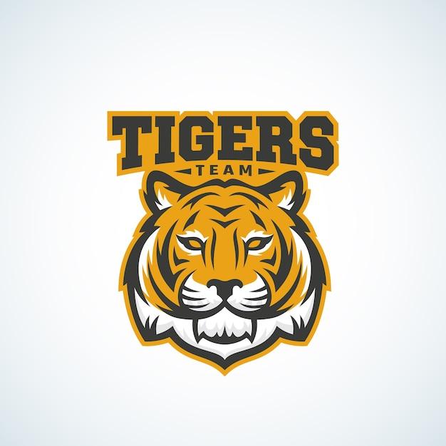 Plantilla de logotipo, emblema o signo de vector abstracto de tiger team vector gratuito