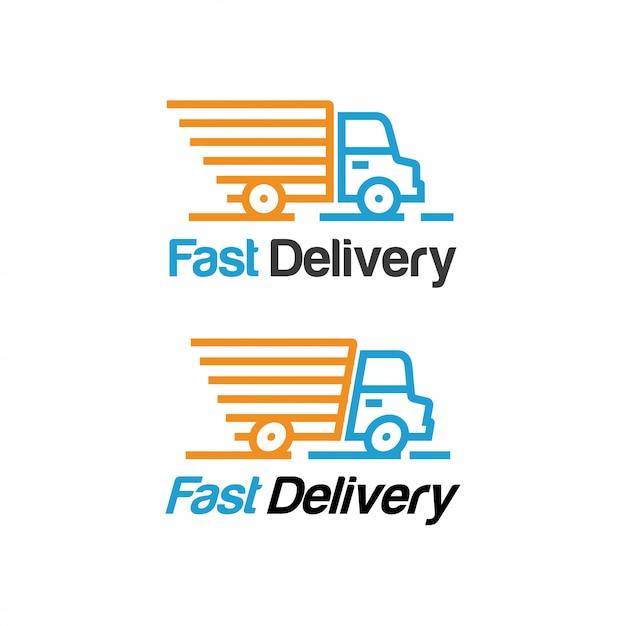 Plantilla de logotipo de entrega rápida Vector Premium