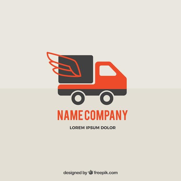 Plantilla de logotipo de envíos con camión vector gratuito