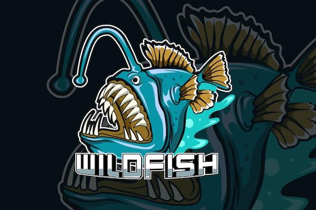 Plantilla de logotipo de equipo de deportes electrónicos de depredador de peces salvajes Vector Premium
