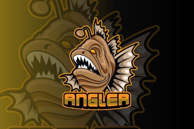 Plantilla de logotipo de equipo de deportes electrónicos de peces depredadores Vector Premium