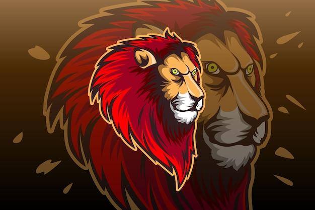 Plantilla de logotipo del equipo lion e-sports Vector Premium