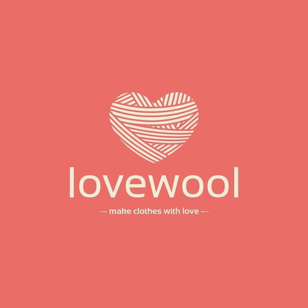 Plantilla de logotipo de espacio negativo de corazón de lana Vector Premium