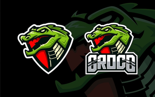 Plantilla de logotipo de esport de cabeza de cocodrilo Vector Premium