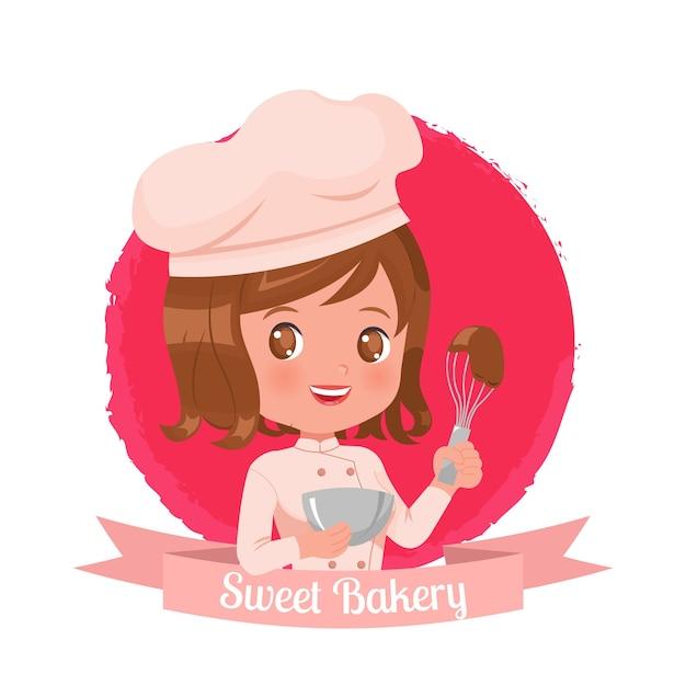 Plantilla de logotipo femenino lindo para panadería. Vector Premium