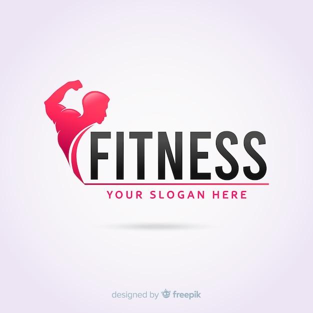 Plantilla de logotipo de fitness diseño plano vector gratuito