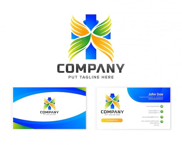 Plantilla de logotipo de hospital médico para empresa con tarjeta de visita Vector Premium