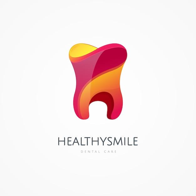 Plantilla de logotipo de icono de diente. símbolos de la oficina de salud, médico o médico y dentista. cuidado oral, dental, consultorio odontológico, salud dental, cuidado dental, clínica. signo de estomatólogo saludable y sonrisa Vector Premium