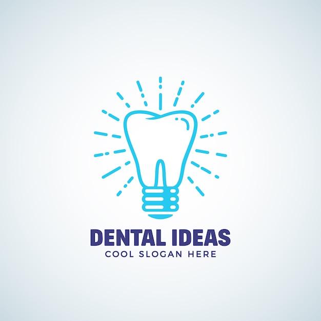 Plantilla de logotipo de ideas dentales con tipografía moderna. Vector Premium