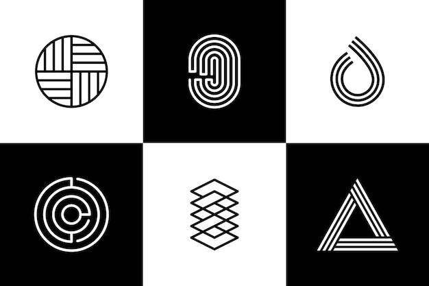 Plantilla de logotipo de identidad corporativa de formas lineales Vector Premium