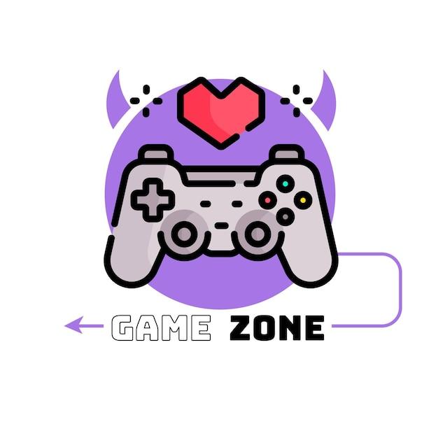 Plantilla de logotipo de juegos con joystick Vector Premium