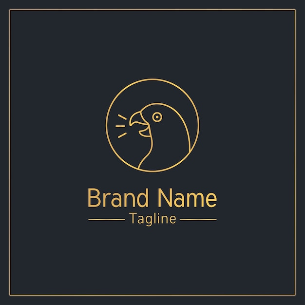 Plantilla de logotipo juguetón dorado loro parlante Vector Premium