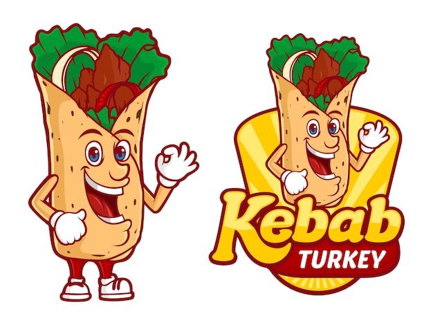 Plantilla de logotipo de kebab turquía, con vector de caracteres divertidos Vector Premium
