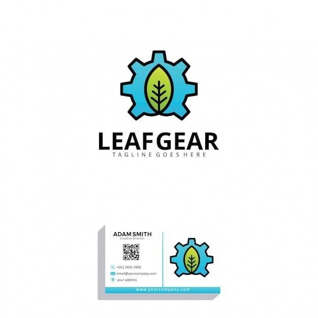 Plantilla de logotipo de leaf gear Vector Premium