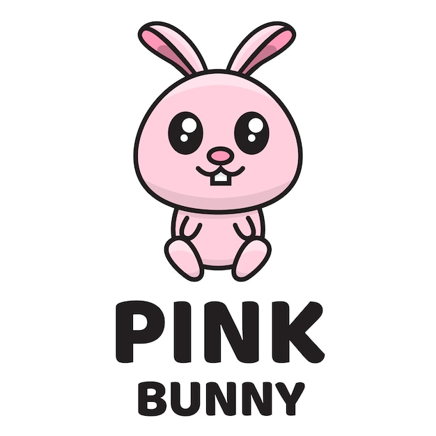Plantilla de logotipo lindo conejito rosa Vector Premium