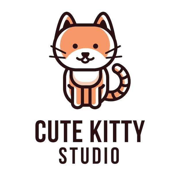 Plantilla de logotipo lindo kitty studio Vector Premium