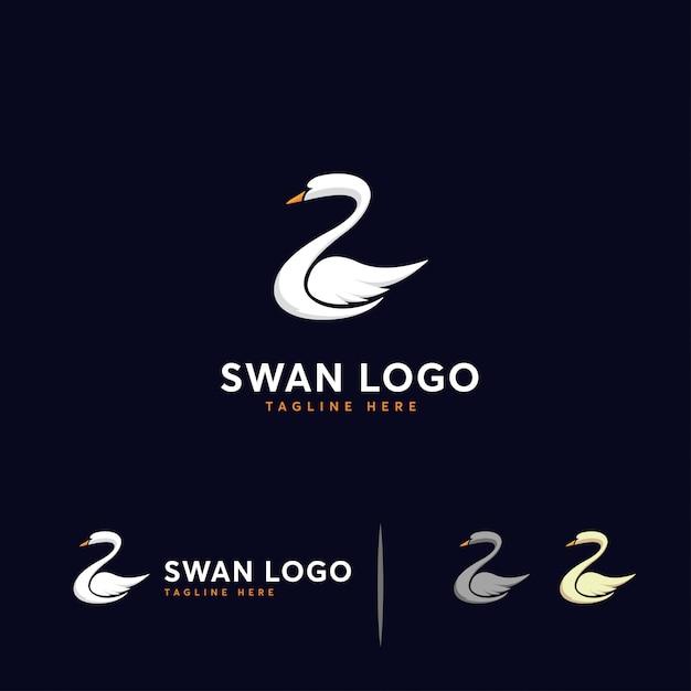 Plantilla de logotipo de lujo swan Vector Premium