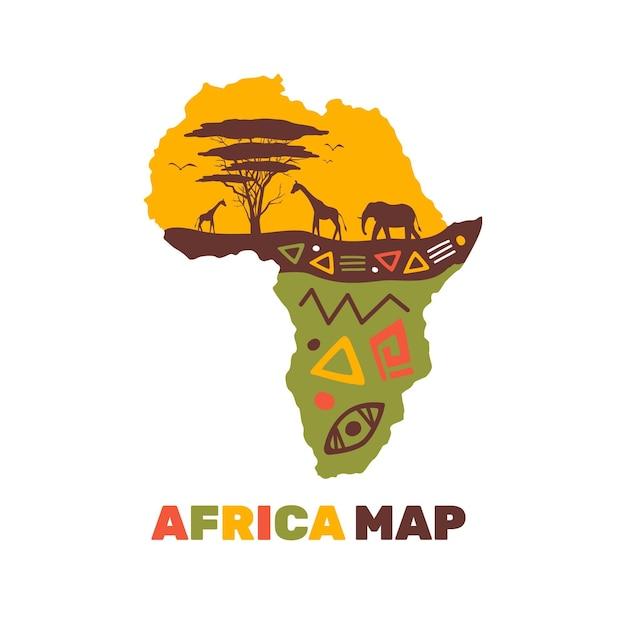 Plantilla de logotipo de mapa colorido de áfrica vector gratuito