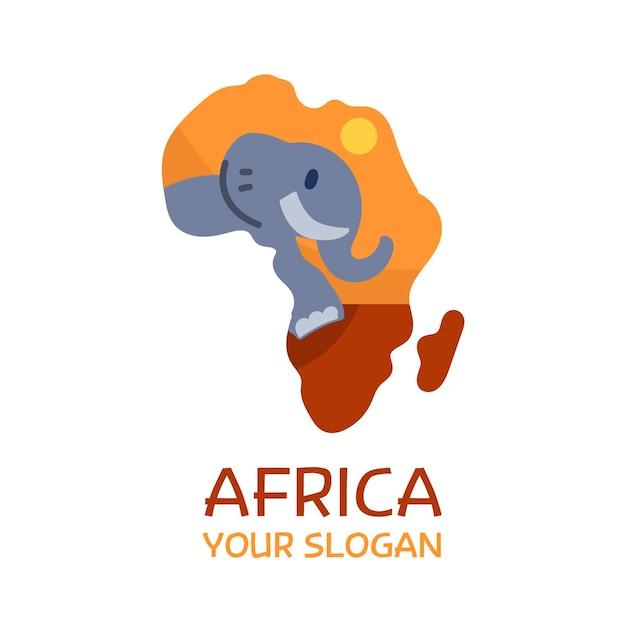 Plantilla de logotipo de mapa de elefante de áfrica vector gratuito