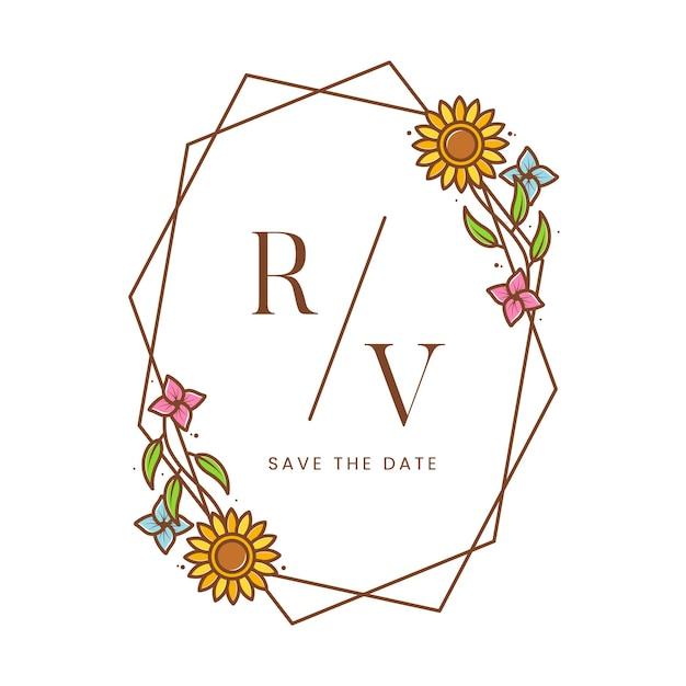 Plantilla de logotipo de marco floral de girasol en blanco Vector Premium
