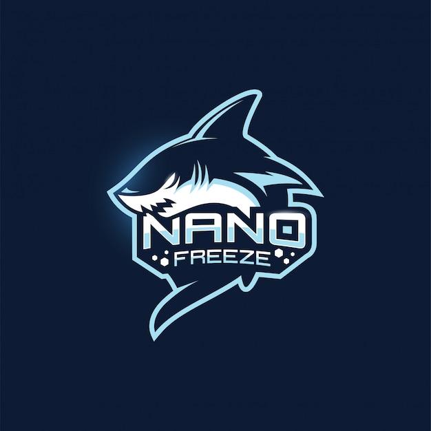 Plantilla de logotipo de la mascota del equipo de juego shark esport Vector Premium