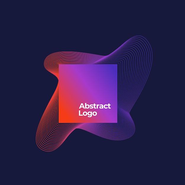 Plantilla de logotipo de mezcla abstracta. marco cuadrado con elegantes líneas curvas con degradado ultravioleta y tipografía moderna. fondo azul oscuro vector gratuito