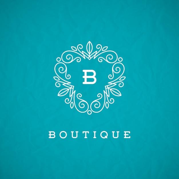 Plantilla de logotipo de monograma con elementos de ornamento elegante caligrafía florece. Vector Premium