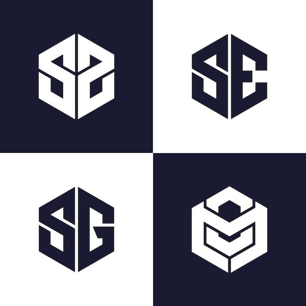 Plantilla de logotipo monograma simple Vector Premium