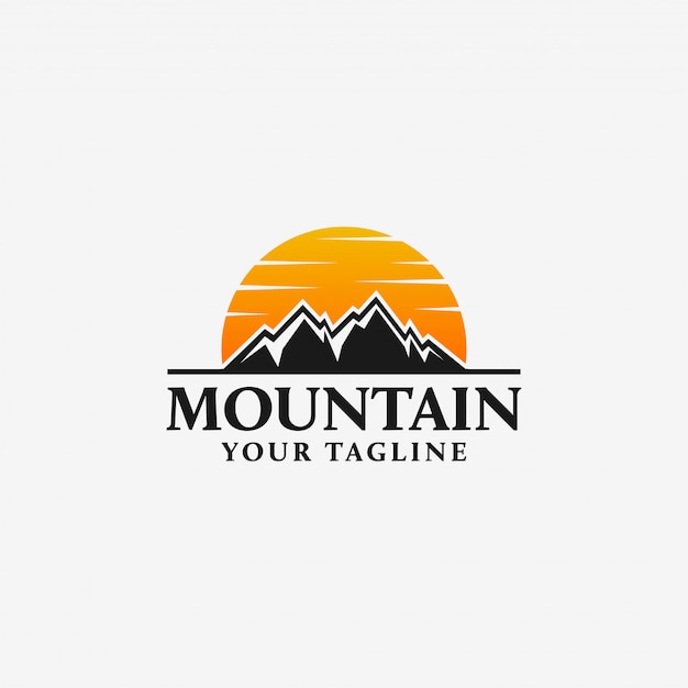 Plantilla de logotipo de montaña Vector Premium