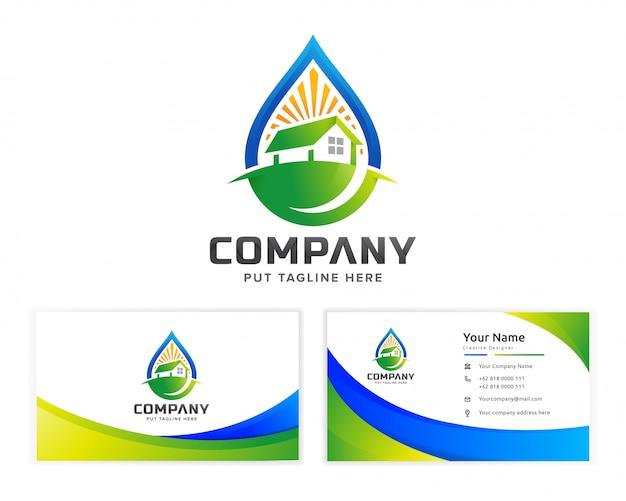 Plantilla de logotipo de naturaleza eco inmobiliaria edificio para empresa Vector Premium
