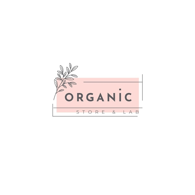 Plantilla de logotipo orgánico con hojas Vector Premium