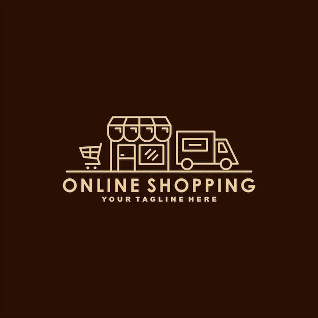 Plantilla de logotipo premium de compras en línea Vector Premium