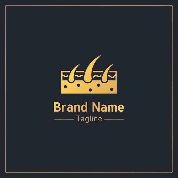 Plantilla de logotipo profesional dorado de folículos pilosos Vector Premium