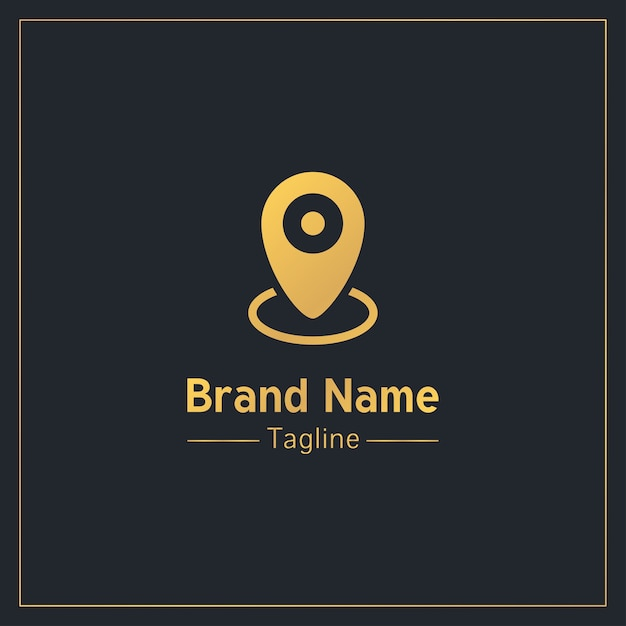 Plantilla de logotipo profesional dorado de pin de ubicación Vector Premium