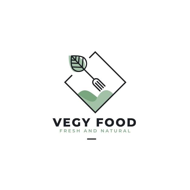 Plantilla de logotipo de restaurante de comida vegana vector gratuito