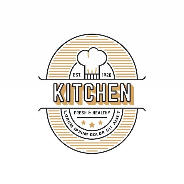 Plantilla de logotipo de restaurante retro Vector Premium