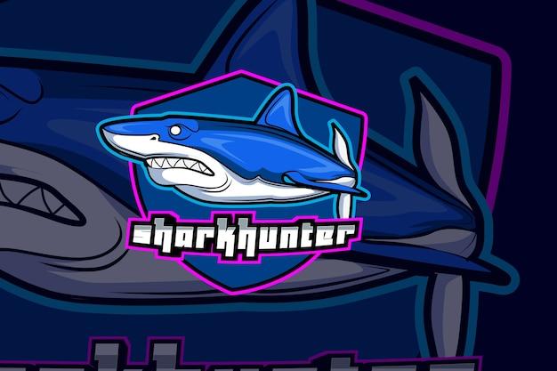 Plantilla de logotipo de shark e sports team Vector Premium