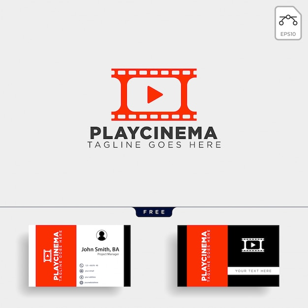 Plantilla de logotipo simple de play media cinema Vector Premium